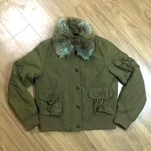 Gap Army Green Fur Lined Bomber Jacket size S